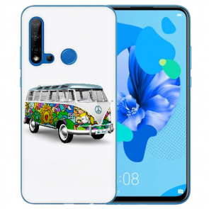 Huawei P20 Lite 2019 Silikon TPU Hülle mit Bilddruck Hippie Bus