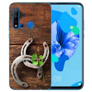 Huawei P20 Lite 2019 Silikon TPU mit Bilddruck Holz hufeisen Etui