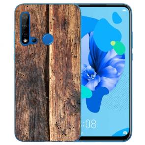 Silikon TPU Hülle mit Bilddruck HolzOptik für Huawei P20 Lite 2019