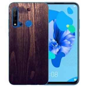 Huawei P20 Lite 2019 Silikon TPU mit Bilddruck HolzOptik Dunkelbraun