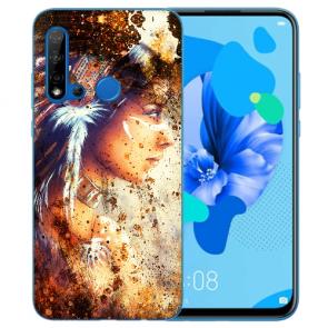 Huawei P20 Lite 2019 Silikon TPU Hülle mit Bilddruck Indianerin Porträt