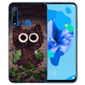 Huawei P20 Lite 2019 Silikon TPU Hülle mit Bilddruck Kaffee Eule Etui