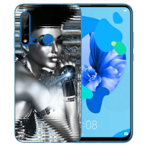 Huawei P20 Lite 2019 Schutzhülle Silikon TPU mit Bilddruck Robot Girl