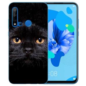 Silikon Schutzhülle TPU für Huawei P20 Lite 2019 mit Schwarz Katze Bilddruck