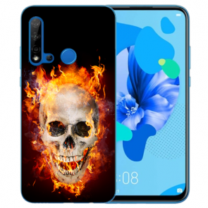 Huawei P20 Lite 2019 Silikon TPU Hülle mit Bilddruck Totenschädel Feuer