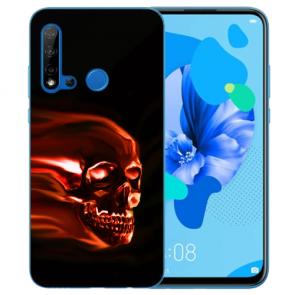 Huawei P20 Lite 2019 Silikon TPU Hülle mit Bilddruck Totenschädel Etui