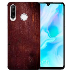 Huawei P30 Lite New Edition Silikon TPU Hülle mit Bilddruck Eichenholz -Optik