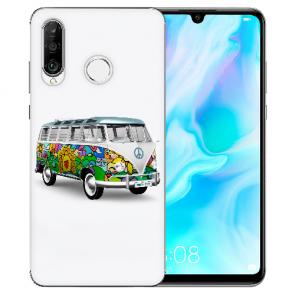 Silikon TPU Hülle mit Bild Druck Hippie Bus für Huawei P20 Lite