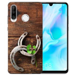 Huawei P20 Lite Silikon TPU Handy Hülle mit Bild Druck Holz hufeisen