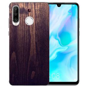 Huawei P30 Lite New Edition Silikon TPU Hülle mit Bilddruck HolzOptik Dunkelbraun
