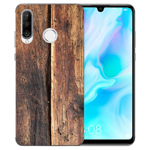 Huawei P20 Lite Silikon TPU Handy Hülle mit Bild Druck HolzOptik