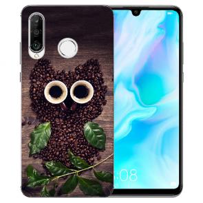 Huawei P20 Lite Silikon TPU Handy Hülle mit Bild Druck Kaffee Eule