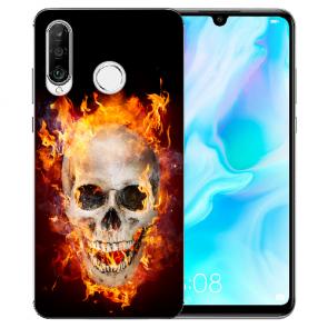 Huawei P20 Lite Silikon TPU Hülle mit Bild Druck Totenschädel Feuer