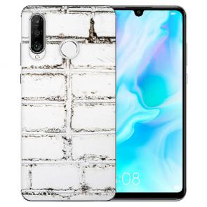 Huawei P30 Lite New Edition Silikon TPU Hülle mit Bilddruck Weiße Mauer Tasche