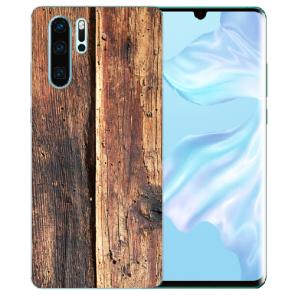 Silikon TPU Hülle mit Bilddruck HolzOptik für Huawei P30 Pro