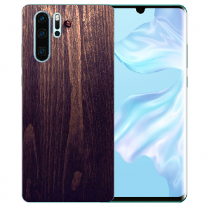 Huawei P30 Pro Silikon TPU Hülle mit Bilddruck HolzOptik Dunkelbraun