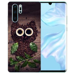 Silikon TPU Hülle mit Bilddruck Kaffee Eule für Huawei P30 Pro