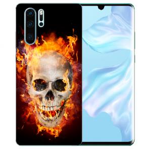 Silikon TPU Hülle mit Bilddruck Totenschädel Feuer für Huawei P30 Pro
