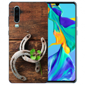 Huawei P30 Silikon TPU Handy Hülle mit Bilddruck Holz hufeisen Etui