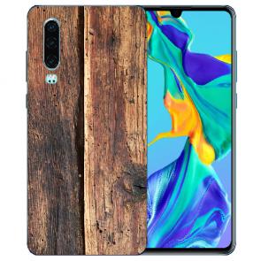 Silikon TPU Handy Hülle mit Bilddruck HolzOptik für Huawei P30 Etui