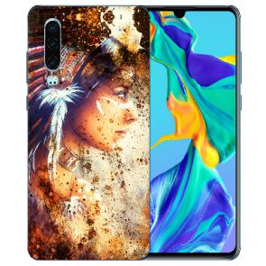 Silikon TPU Handy Hülle mit Bilddruck Indianerin Porträt für Huawei P30