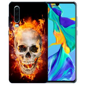 Silikon TPU Handy Hülle mit Bilddruck Totenschädel Feuer für Huawei P30