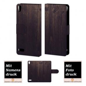 Handyhülle Tasche mit Holz Optik Bilddruck für Huawei Ascend P6