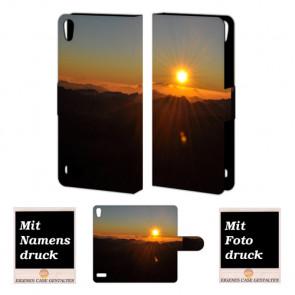 Huawei Ascend P6 Handy Tasche Hülle mit Bilddruck Sonnenaufgang
