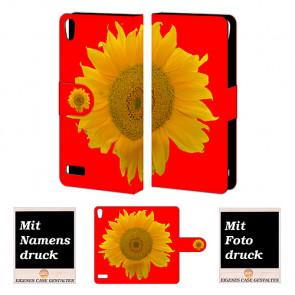Huawei Ascend P6 Handy Tasche Hülle mit Sonnenblumen Bilddruck