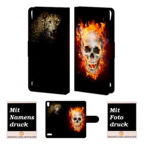 Huawei Ascend P6  Handy Hülle mit Totenschädel - Tiger Bild Druck