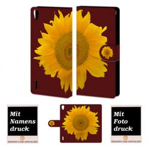 Handy Tasche mit Sonnenblumen Bild Druck für Huawei Ascend P7
