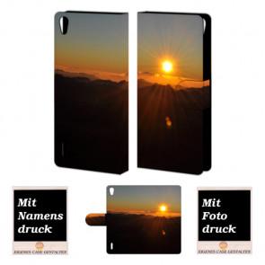 Huawei Ascend P7 Handy Tasche Hülle mit Sonnenaufgang Fotodruck