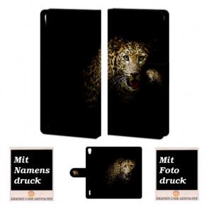 Huawei Ascend P7 Tiger Handy Tasche Hülle Foto Bild Druck