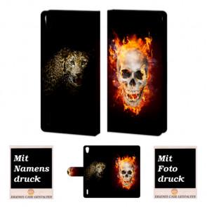 Huawei Ascend P7 Totenschädel - Tiger Handy Tasche Hülle Foto Bild Druck