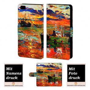 Handy Tasche Hülle mit Gemälde Bild Druck für Huawei P8 Lite