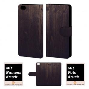 Huawei P8 Lite Handy Tasche Hülle mit Bild Druck Holz Optik