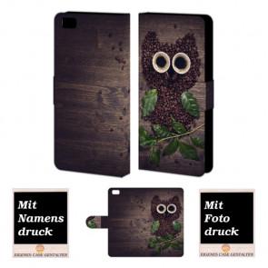 Personalisierte Handyhülle mit Kaffee Eule Bilddruck für Huawei P8 Lite