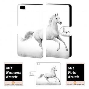 Handy Tasche Hülle für Huawei P8 Lite mit Pferd Foto Druck