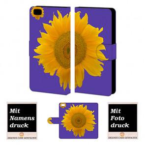 Huawei P8 Lite Handy Tasche Hülle mit Bild Druck Sonnenblumen Etui