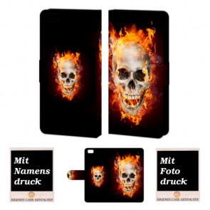 Huawei P8 Lite Handy Tasche Hülle mit Bilddruck Totenschädel - Feuer