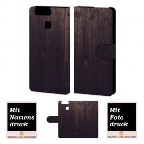 Huawei P9 Holz Optik Handy Tasche Hülle Foto Bild Druck
