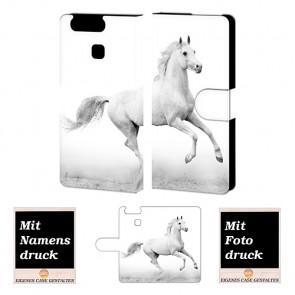 Handy Tasche Hülle mit Pferd Foto Druck für Huawei P9 Etui