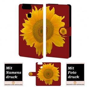 Personalisierte Handy Tasche für Huawei P9 mit Sonnenblumen Bilddruck