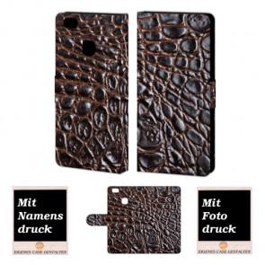 Huawei P9 Lite Krokodil Optik Handy Tasche Hülle Foto Bild Druck