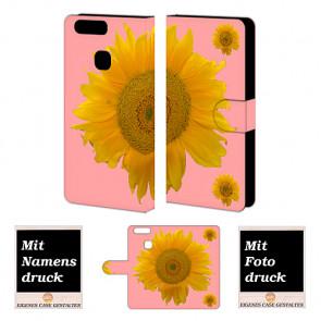 Huawei P9 Plus Handy Tasche Hülle mit Sonnenblumen Bild Druck