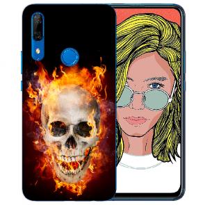 Huawei P Smart Z Silikon TPU Hülle mit Bilddruck Totenschädel Feuer
