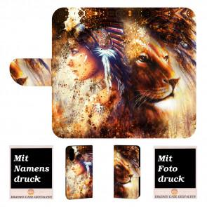 iPhone X Individuelle Handyhülle mit Indianer - Löwe - Gemälde Bilddruck