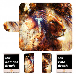 Huawei P Smart Handyhülle mit Indianer - Löwe - Gemälde Fotodruck