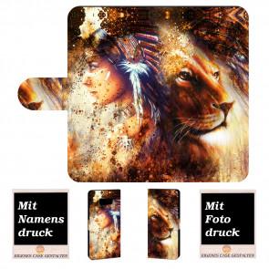 Samsung Galaxy S8 Plus Handyhülle mit Indianer - Löwe - Gemälde Bilddruck