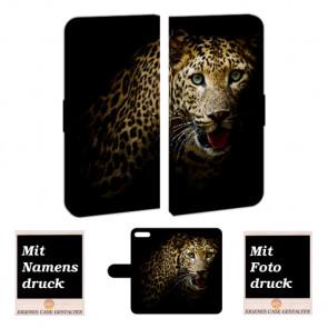 Handyhülle Tasche mit Leopard Foto Druck für iPhone 7 Plus Etui